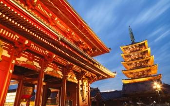 CC6GME Japan, Tokyo, Asakusa, Asakusa Kannon Temple, Hozomon Gate and Temple Pagoda